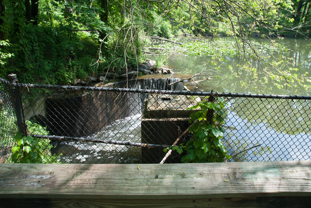 Tibbetts Brook currently enters the Broadway Sewer here, at the corner of Van Cortlandt Lake