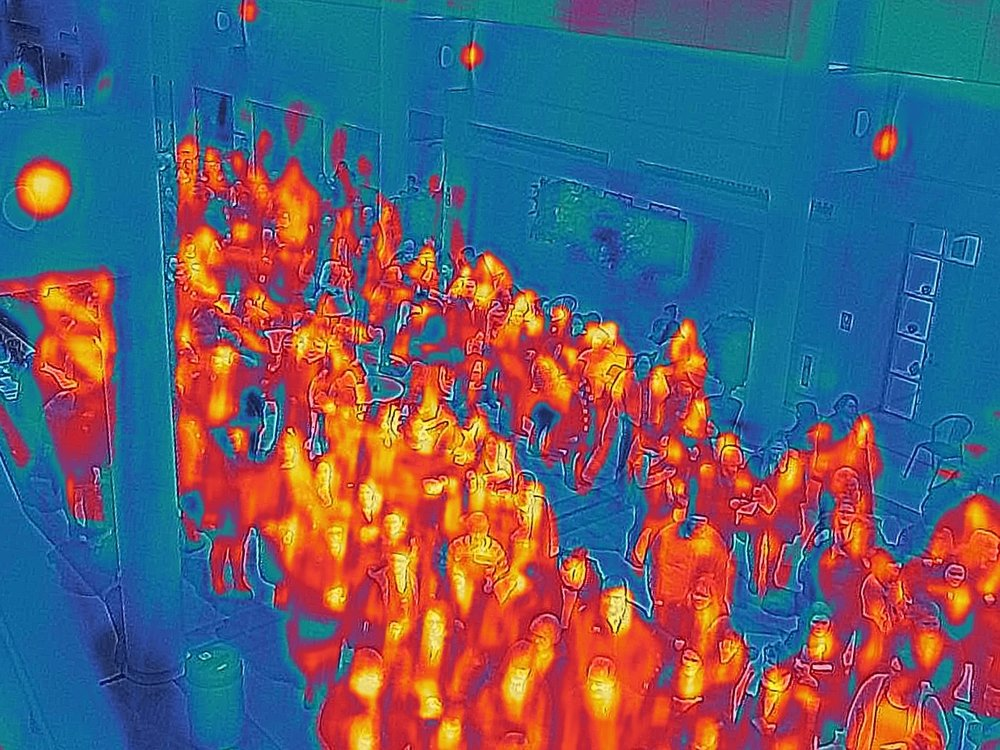 A crowded hall, Heat Mapped