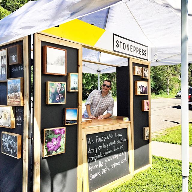 Out in downtown Afton today in front of #eyecandyrefind with our new #popup stand.