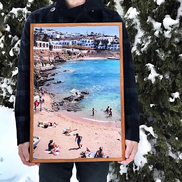 After a long hiatus because of some unfortunate technical difficulties we are back! We were snowed in all weekend and used that time to get things back up and running and decided to print this special HUGE size frame with a beach shot from Mykonos to warm us up. To celebrate we are giving our followers 20 percent off orders placed until the end up April . Use code MYKONOS to get your discount. #stonepressprints #framedprints #mothersdaygift #art #recycledwoodart #madeinminnesota