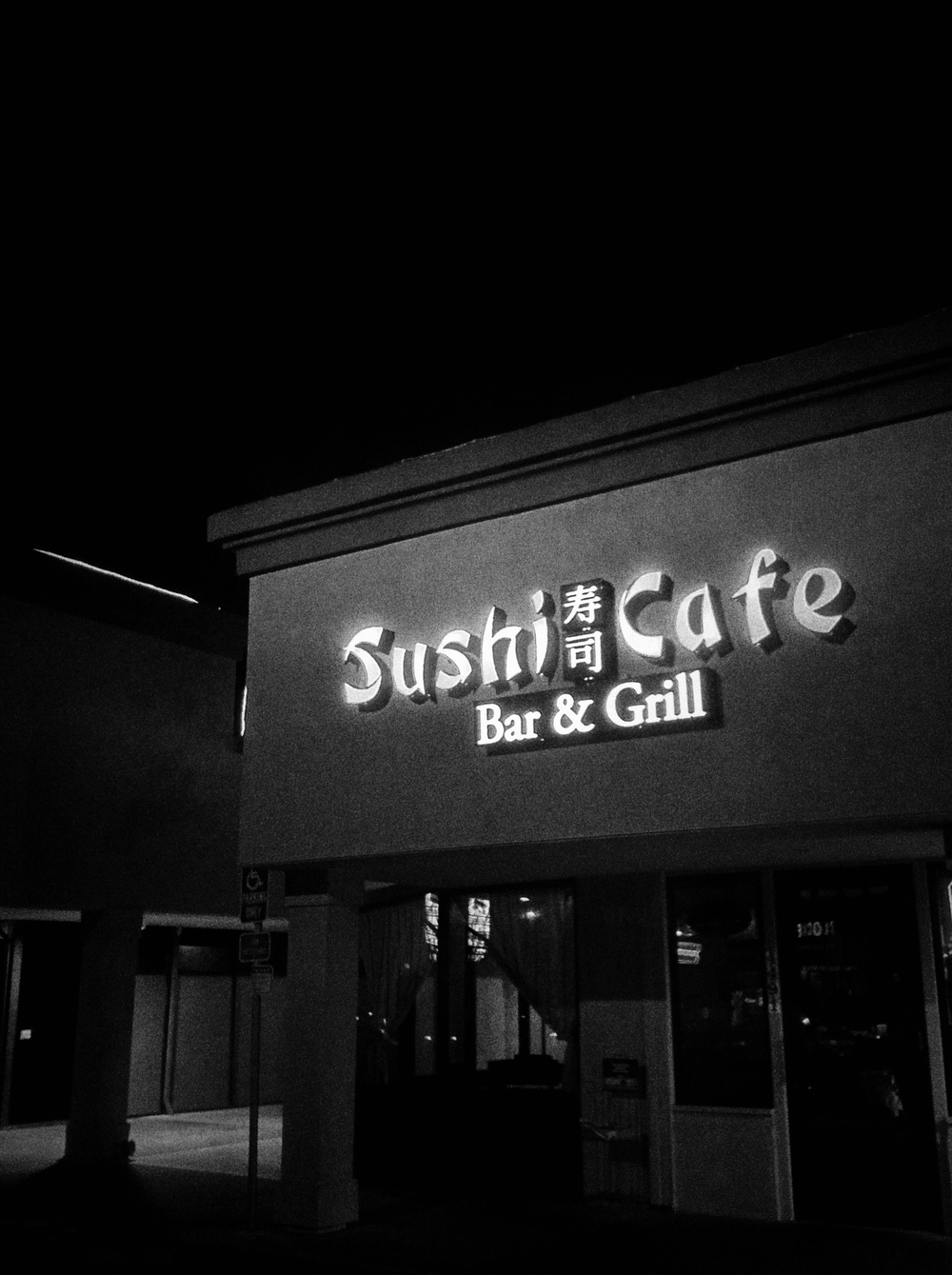 Sushi Cafe front - night time