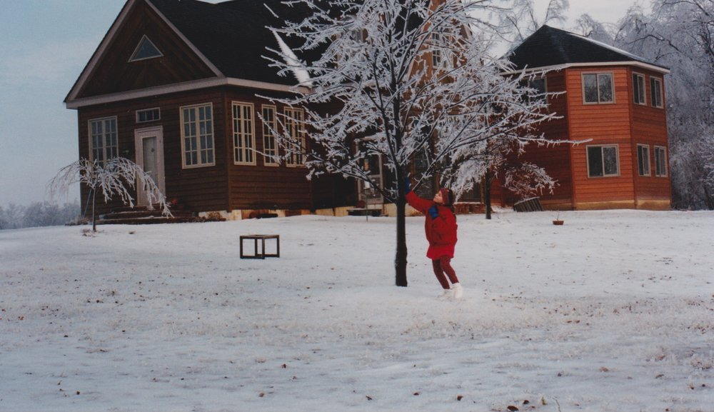 Amaran in front of the house in the aftermath of an ice storm.