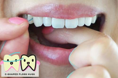 """5. Insert floss between teeth. Make a """"C"""" shape with the floss, hugging each side of each tooth. Slide floss up and down sides of teeth."""