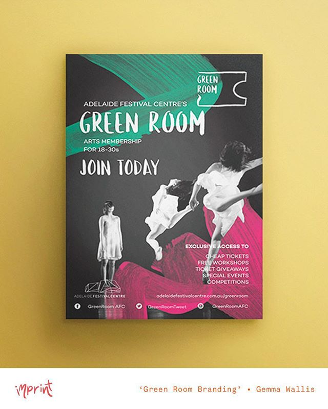 Another @greenroomafc branding concept - this time by @gemmawallisdesign 💃💃 • see her work and more at #imprintexhibition2016 • Nov 25 - Dec 2 • #design #designer #graphicdesign #graphicdesigner #illustration #illustrator #art #artist #poster #brand #branding