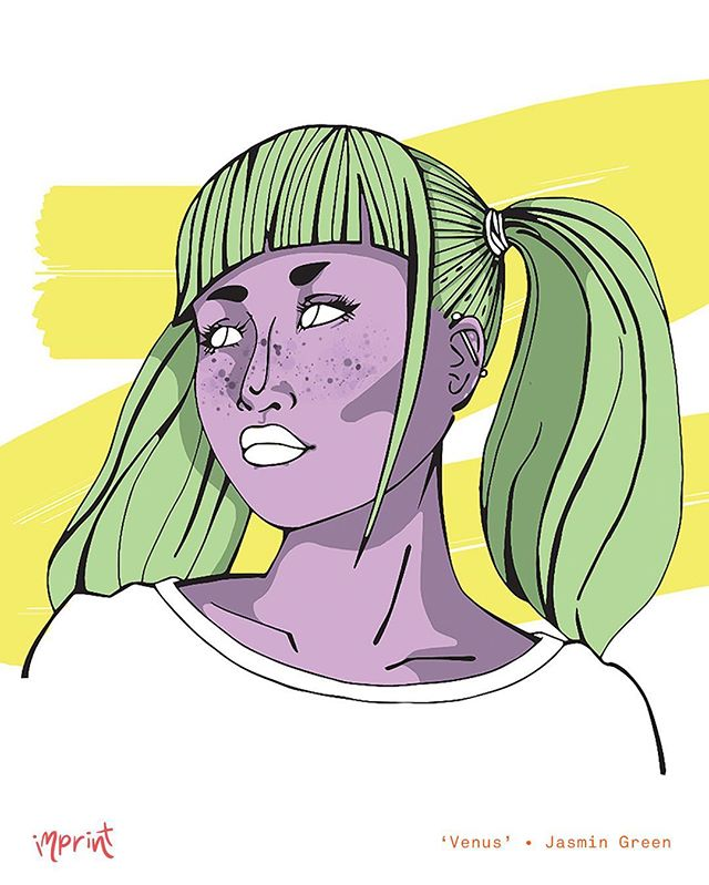 lil bit of #characterdesign by Jasmin Green (@ghostpant) 💫 • see her work + more at #imprintexhibition2016 • Nov 25 - Dec 2 • #illustration #illustrator #design #designer #graphics #graphicdesign #portrait #graphicdesigner #digital #colour #character
