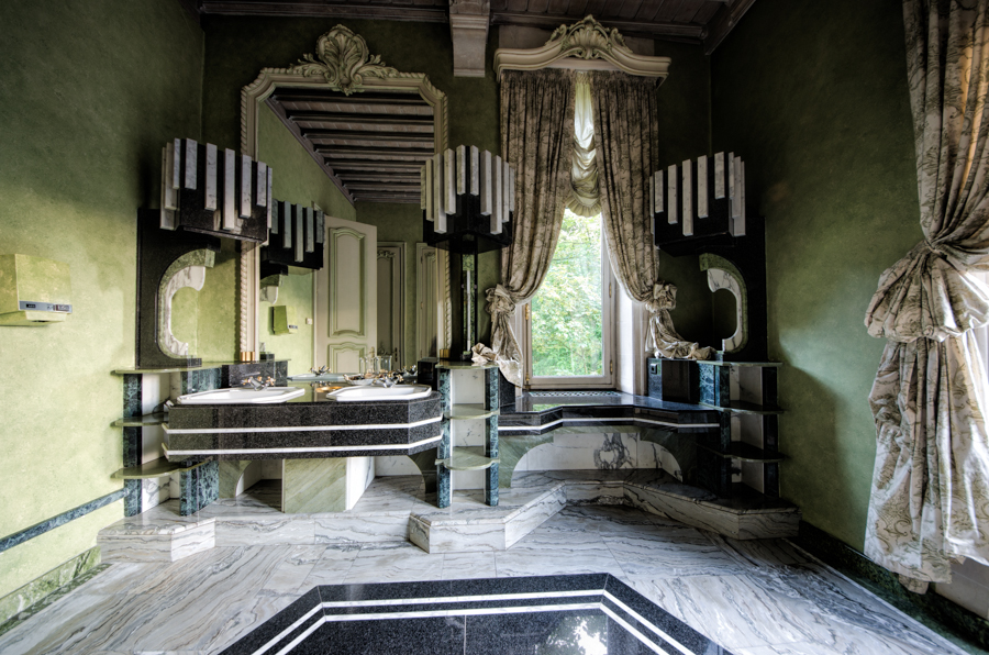 The exquisite ladies bathroom in an abandoned upper class restaurant in Belgium.