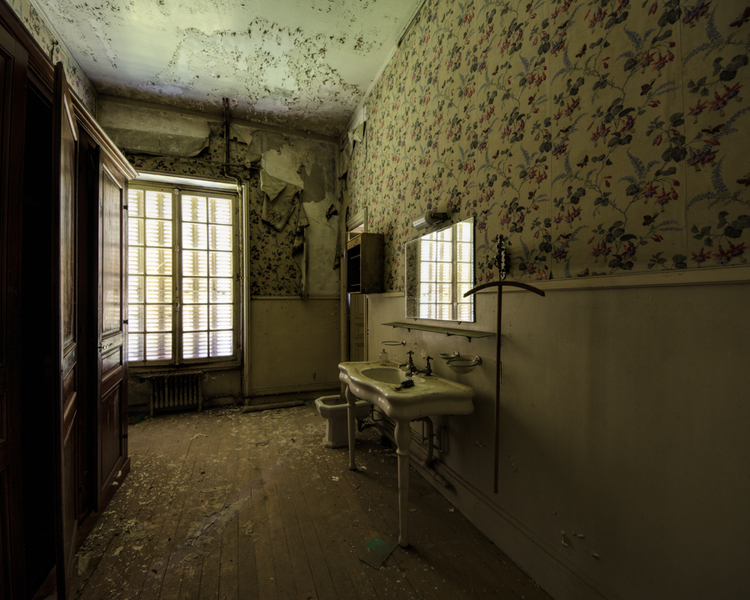 The bathroom in an abandoned chateau in France.