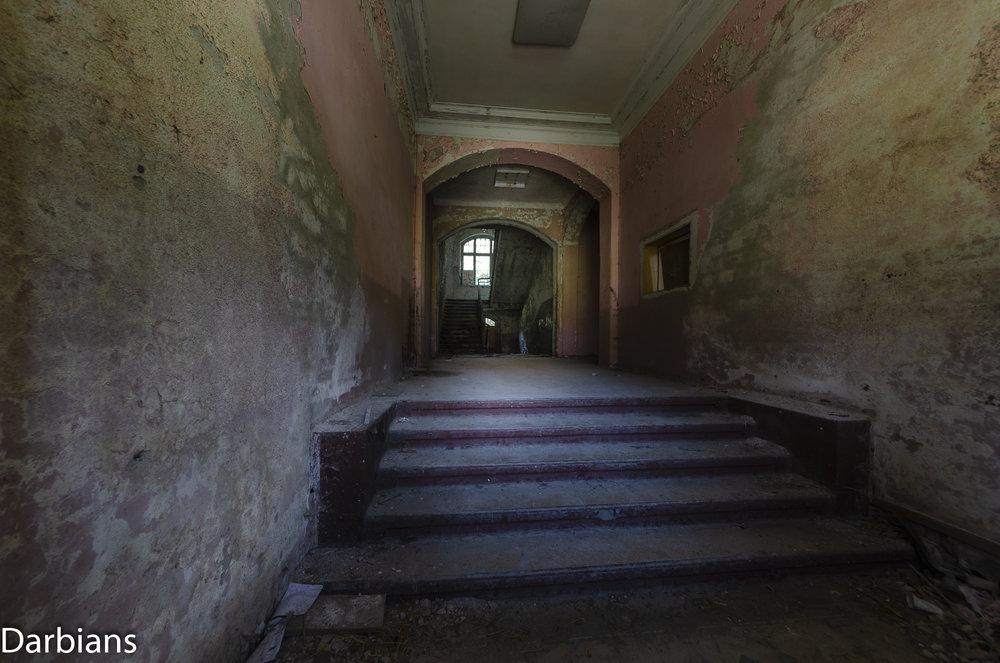 Beelitz Heilstätten Abandoned Sanatorium: Entrance to the administration block