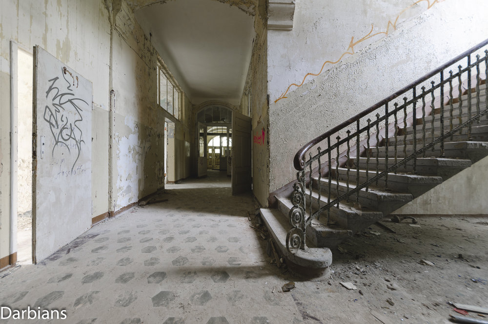 Beelitz Female Pavilions: Another angle of the staircase.