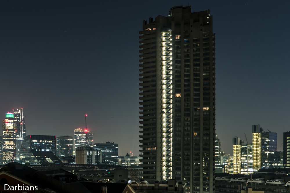 London Barbican Views. Shakespeare Tower with 88 Wood Street to the Right.