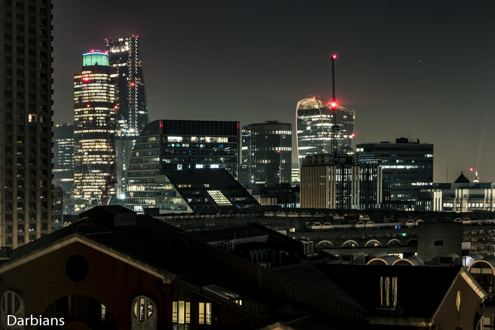 London Barbican Views. Starting from the left we have Cromwell Tower, Tower 42, The Cheesegrater, 120 London Wall, 1 Angel Court and finally the Walkie Talkie.
