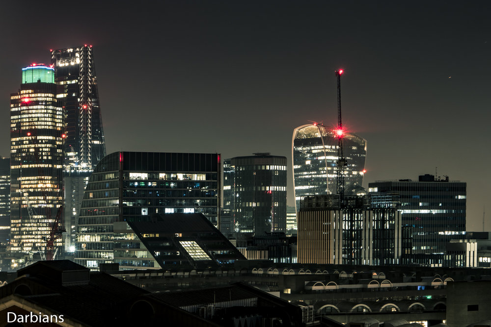 London Barbican Views. Starting from the left we have Tower 42, The Cheesegrater, 120 London Wall, One Angel Court, the Walkie Talkie and finally One Creechurch Lane.