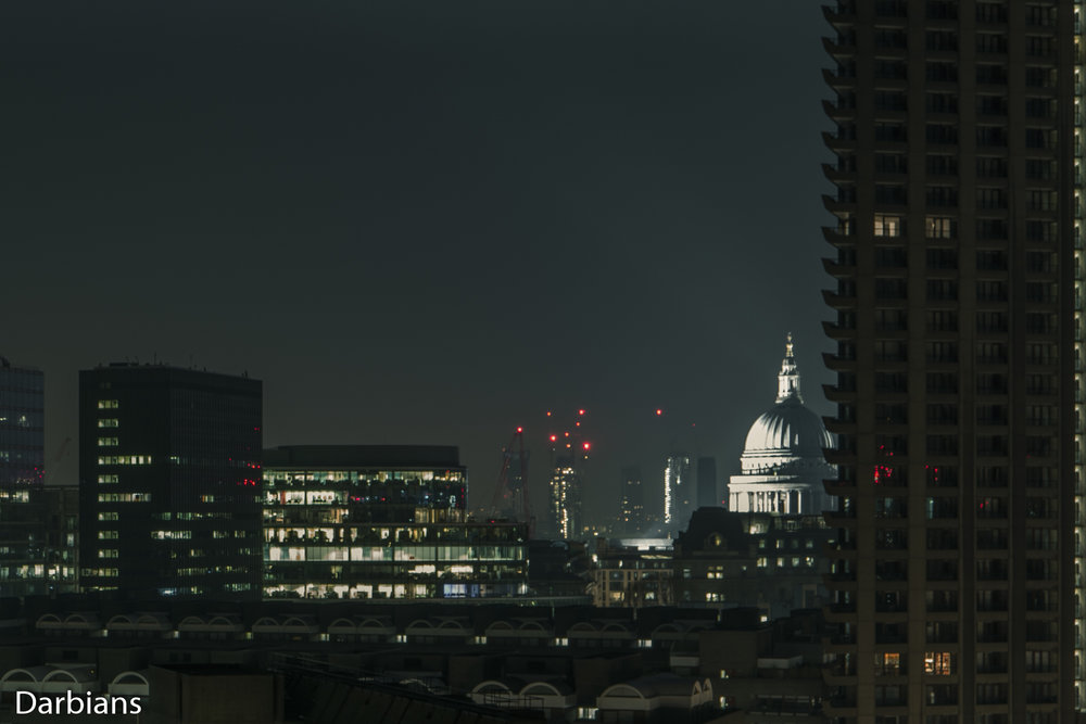 London Barbican Views. 140 London Wall, One London Wall, St Pauls Cathedral and Lauderdale Tower.