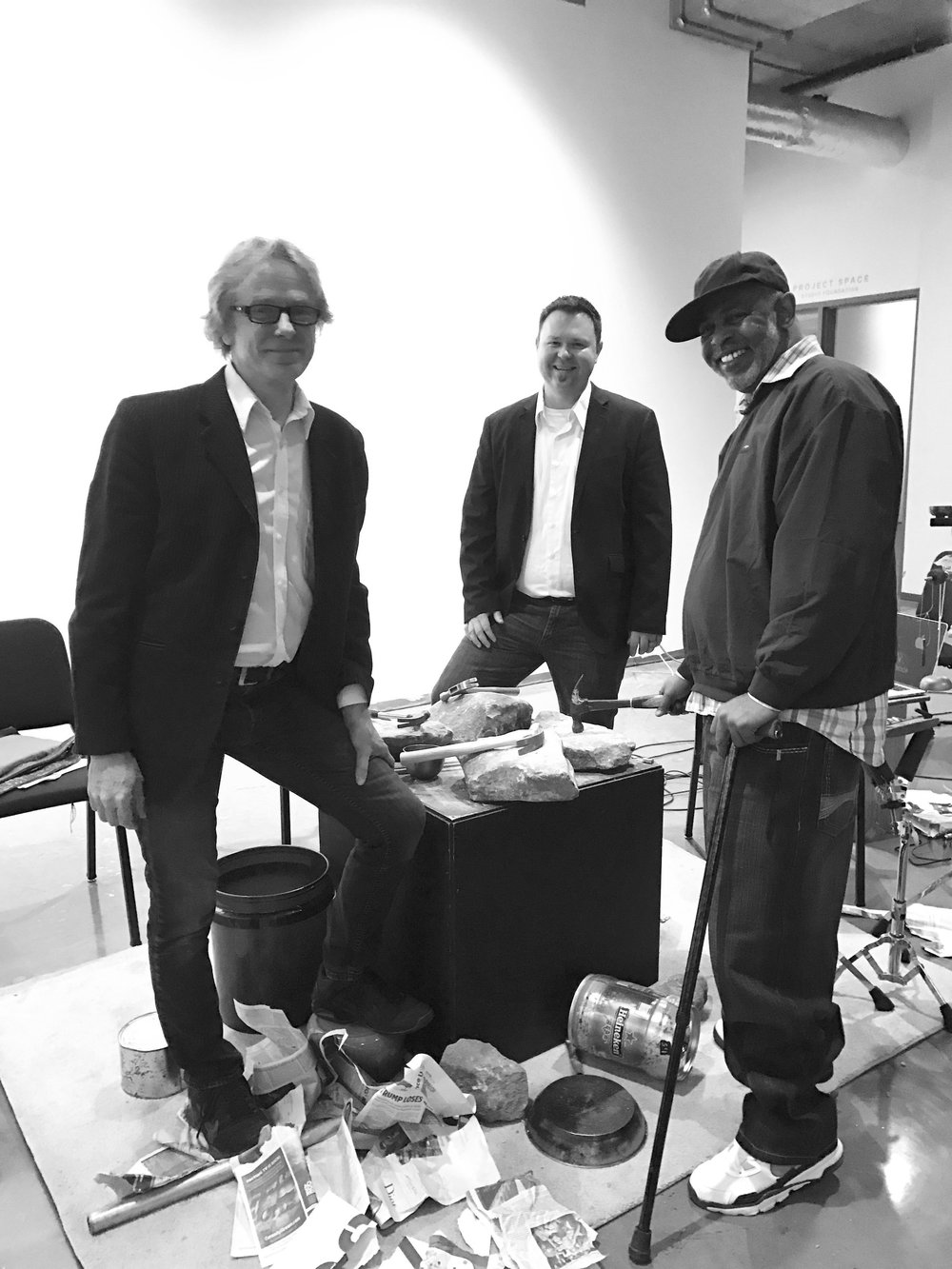 Allen Otte, John Lane, and Clarence Harrison (first person exonerated by the Georgia Innocents Project) University of Georgia Residency/Performance, 2017