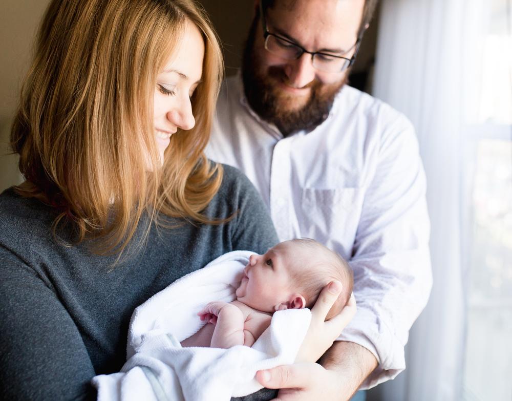 newborn family candid