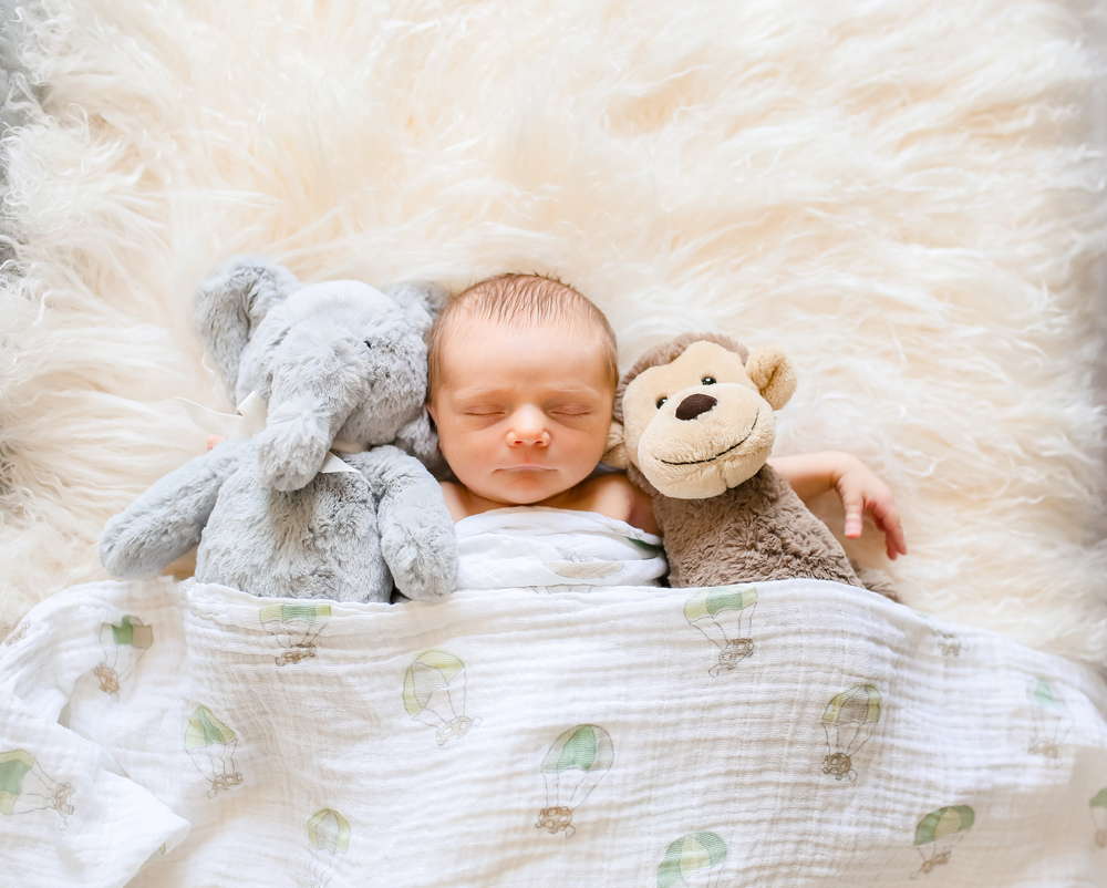 baby with stuffed animals buddies