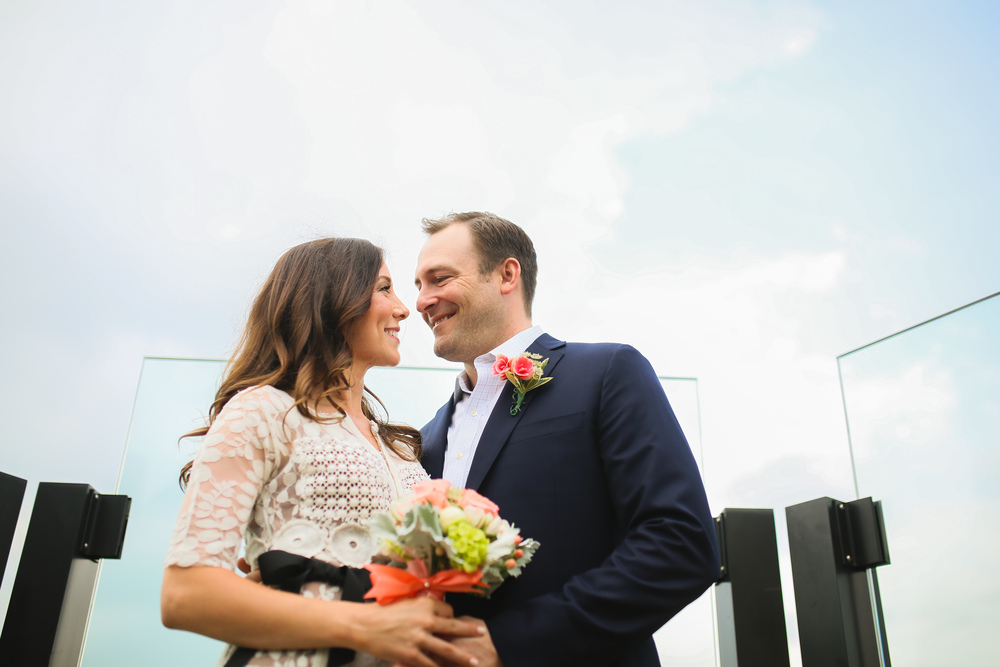 wedding couple portrait with blue sky
