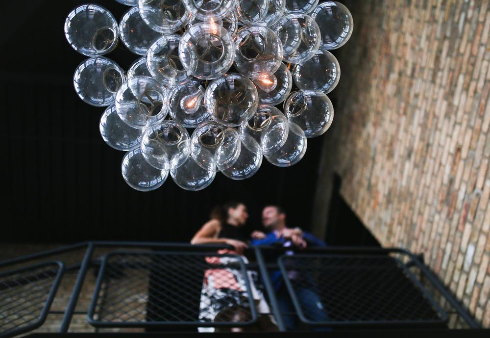 bubble chandelier in focus
