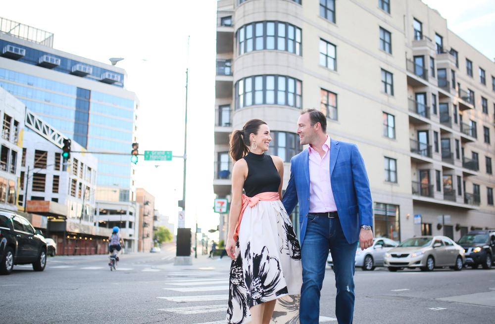 chicago couple on street crosswalk