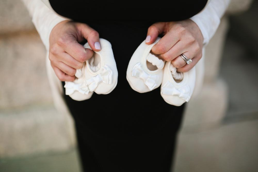 newborn twin girl white shoes