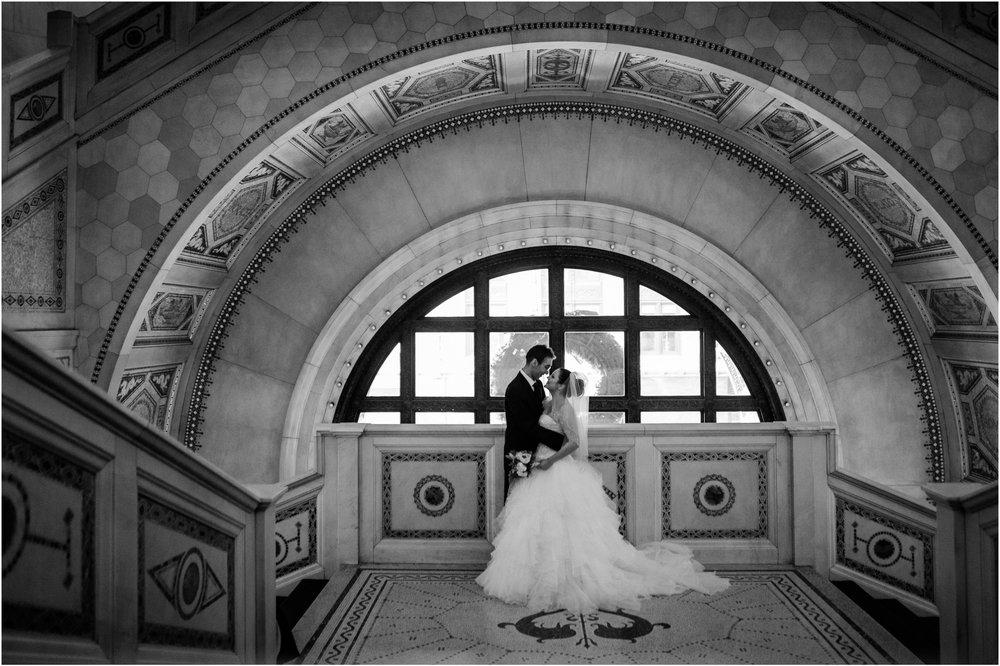 chicago cultural center wedding elopement bride groom kissing