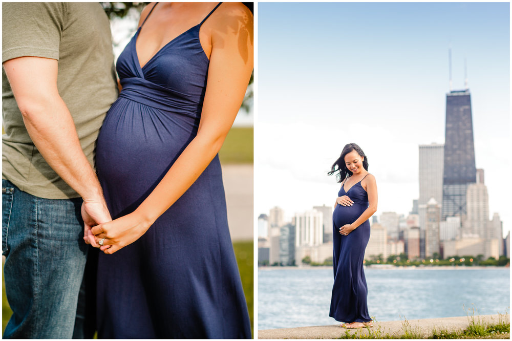 chicago maternity pregnancy photographer jenny grimm beach sunset