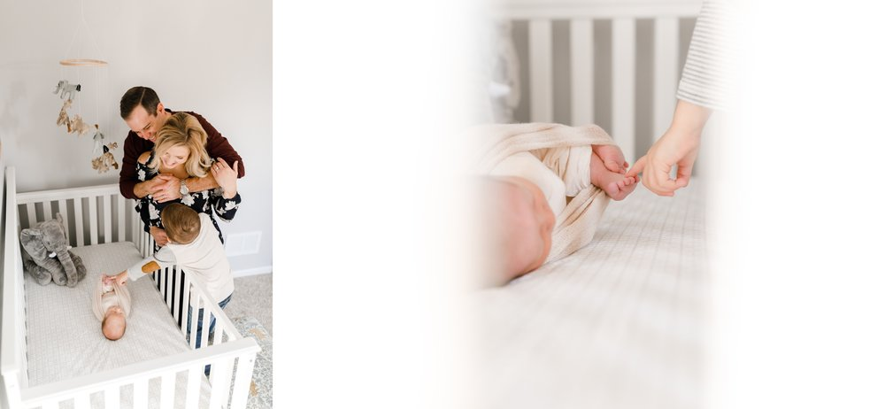 chicago newborn lifestyle photographer baby nursery crib toes jenny grimm photography