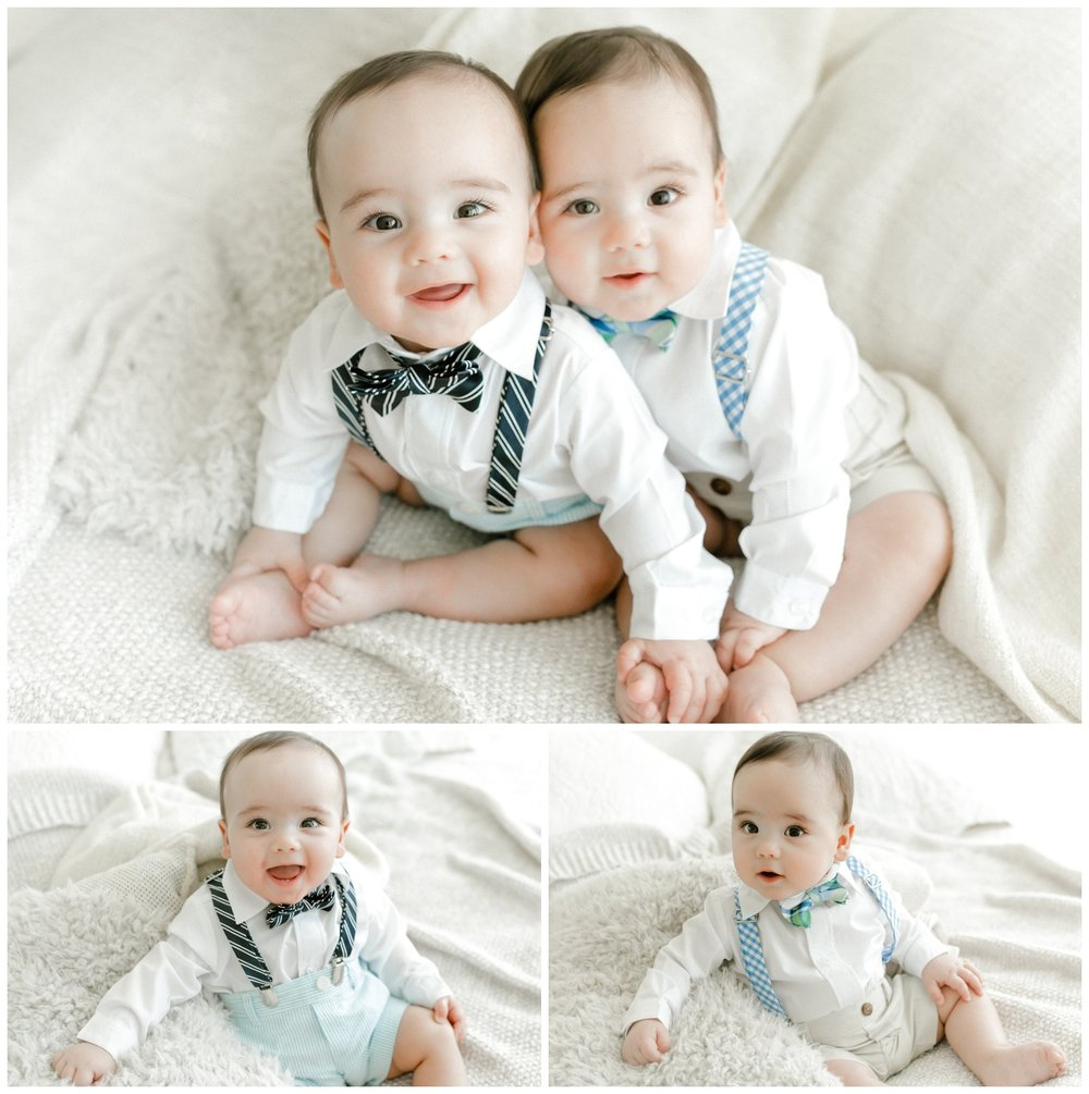 chicago identical twin baby boys bow tie studio easter portraits