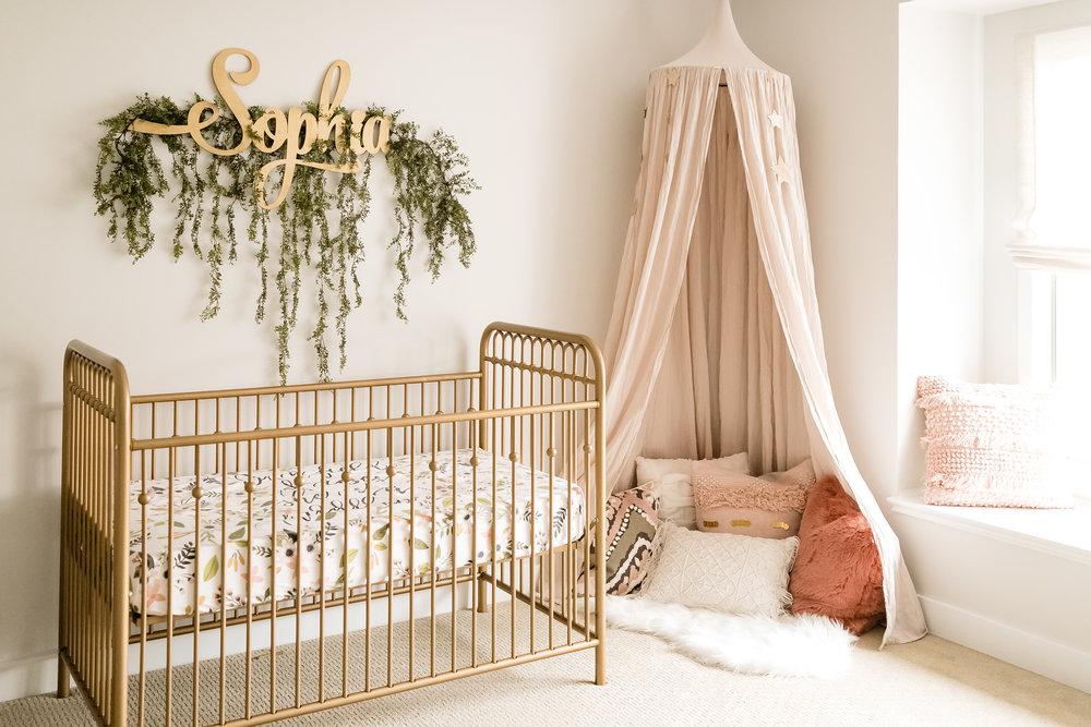 chicago newborn girl nursery pale pink boho chic organic interior design style