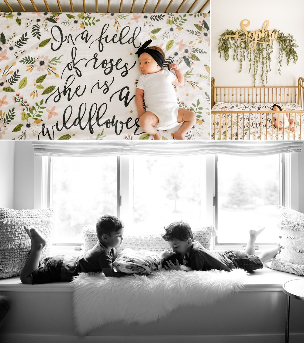 jenny grimm photography chicago lifestyle newborn family photographer twin boys little sister girl floral nursery