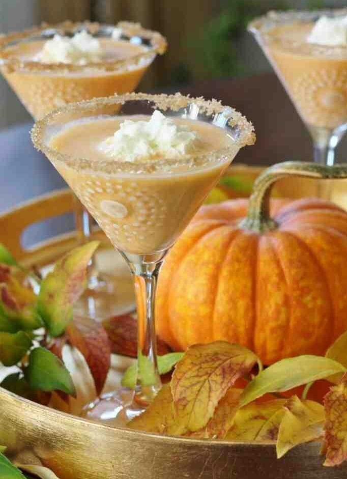 Forget about Starbuck's PSL..... What better way to top off a Halloween party with a festive Pumpkin Pie Martini! Click the link above to check out this easy, yet tasty, little number all your guest will be raving about until next year! Ingredients Pumpkin Pie Egg Nog Whipped Cream Vodka Optional Garnish: Whipped Cream Pumpkin Pie Spice Brown Sugar Maple Syrup Instructions Mix together on a small plate, a few tablespoons of brown sugar and ½ tsp. of pumpkin pie spice. On a separate small plate pour a few tablespoons of maple syrup. Dip each martini glass rim into maple syrup then immediately into the brown sugar/spice mixture. Pour 1.5 oz of chilled Whipped Cream vodka into the 4 oz martini glass. Next pour in Pumpkin Pie Egg Nog and stir. Top with a dollop of whipped cream and serve. Cheers Loves!