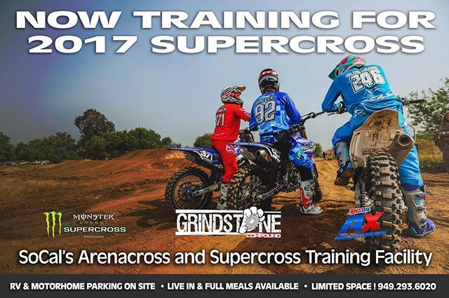 Looking to come to SoCal to get some training in for Arenacross or West Coast Supercross? We have limited spaces available RV hook-ups and live-in. Reserve your spot now! #lifeonthegrind #makingdreamsreality