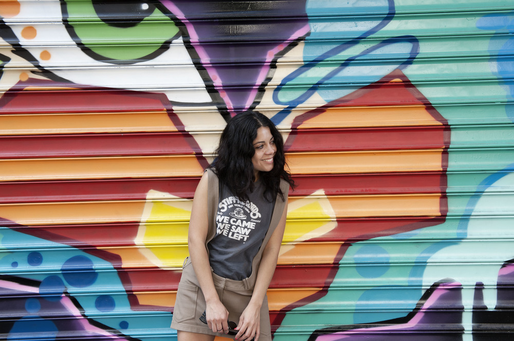 Alejandra Sabillion hanging out in the Lower East Side.