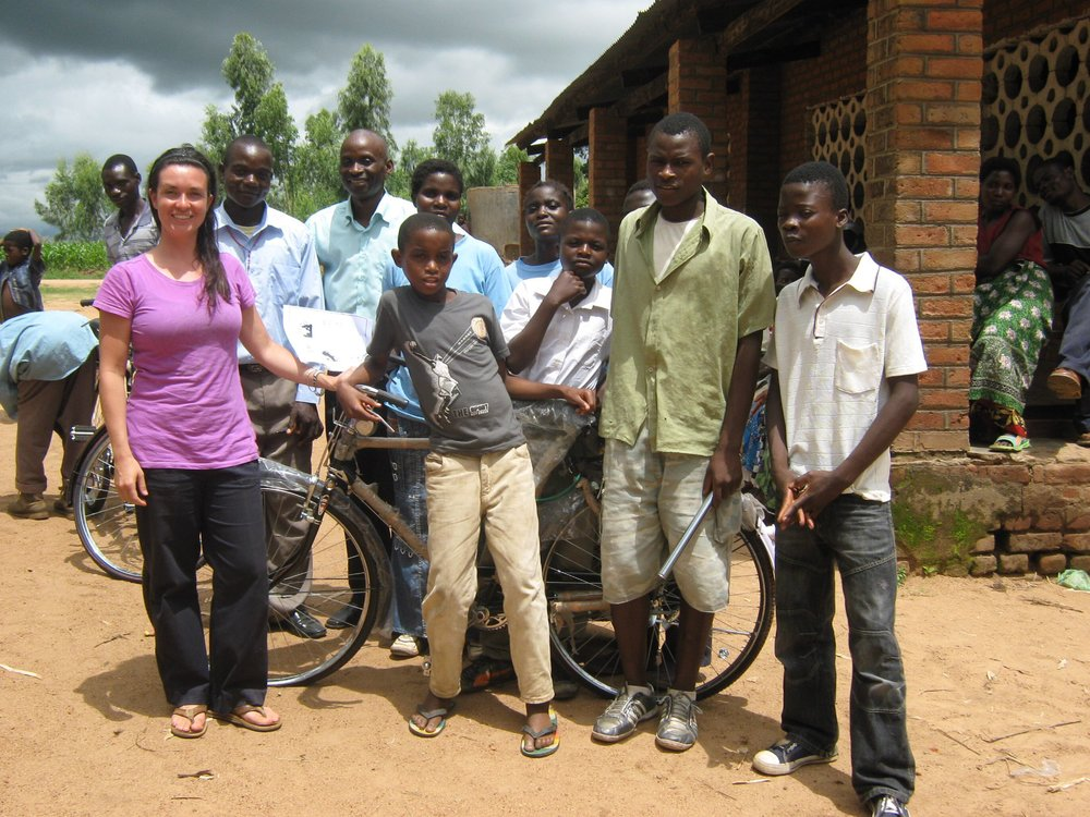 a new bike being donated to a community in Malawi, Africa