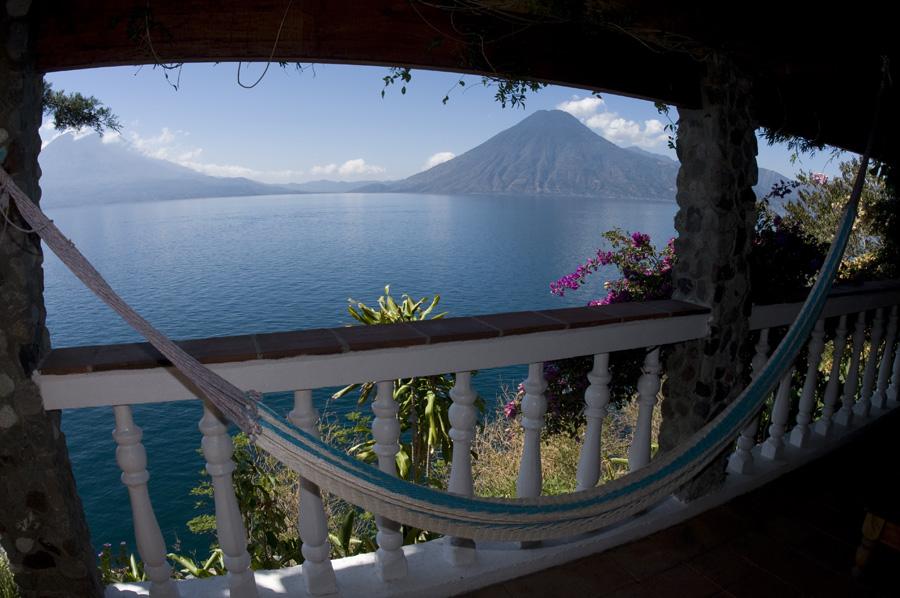 One of the world's top 10 hammocks, at Casa Del Mundo on Guatemala's spectacularLago de Atitlan.