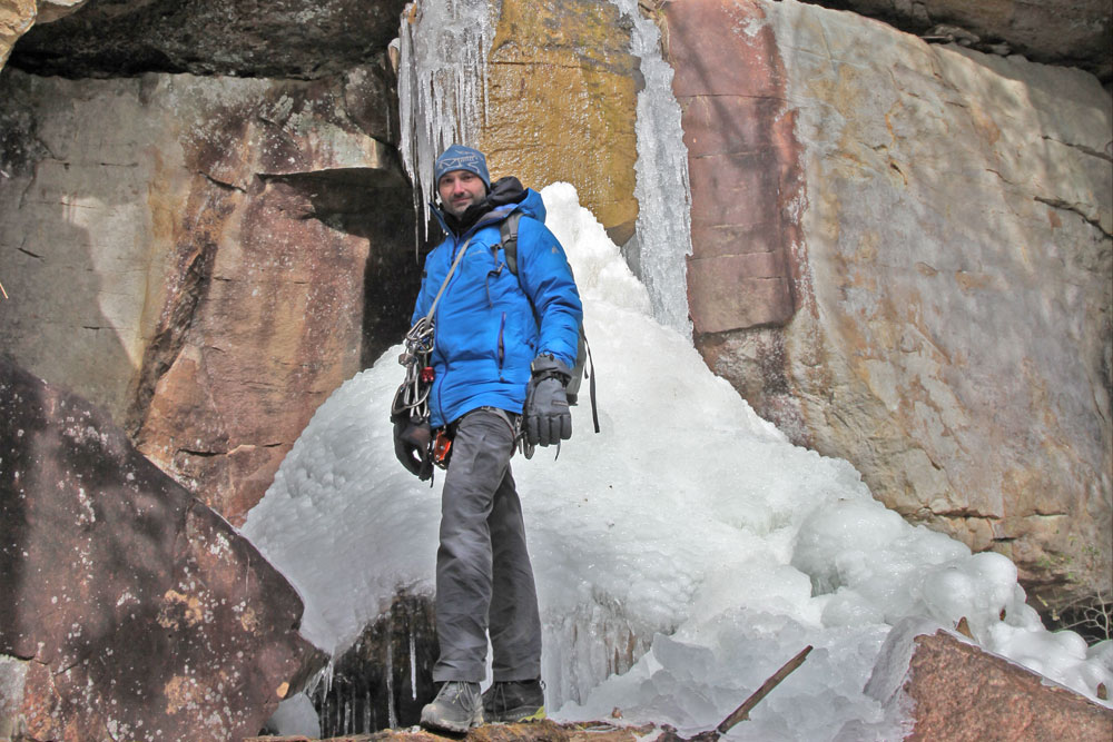 Kevin Flint standing in the South Clear section of the Obed Wild & Scenic River area on a 17-degree day in January. Photo courtesy of Kevin Flint and taken by Katie Meyer.
