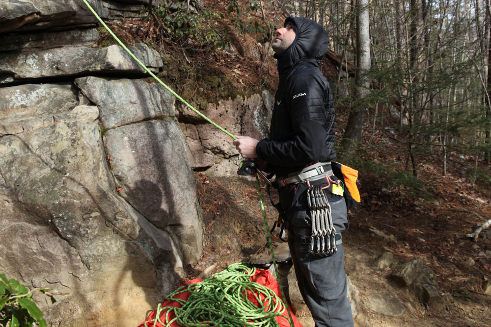 Take turns belaying in the cold. Belaying will force you to be stationary. Photo by Katie Meyer.