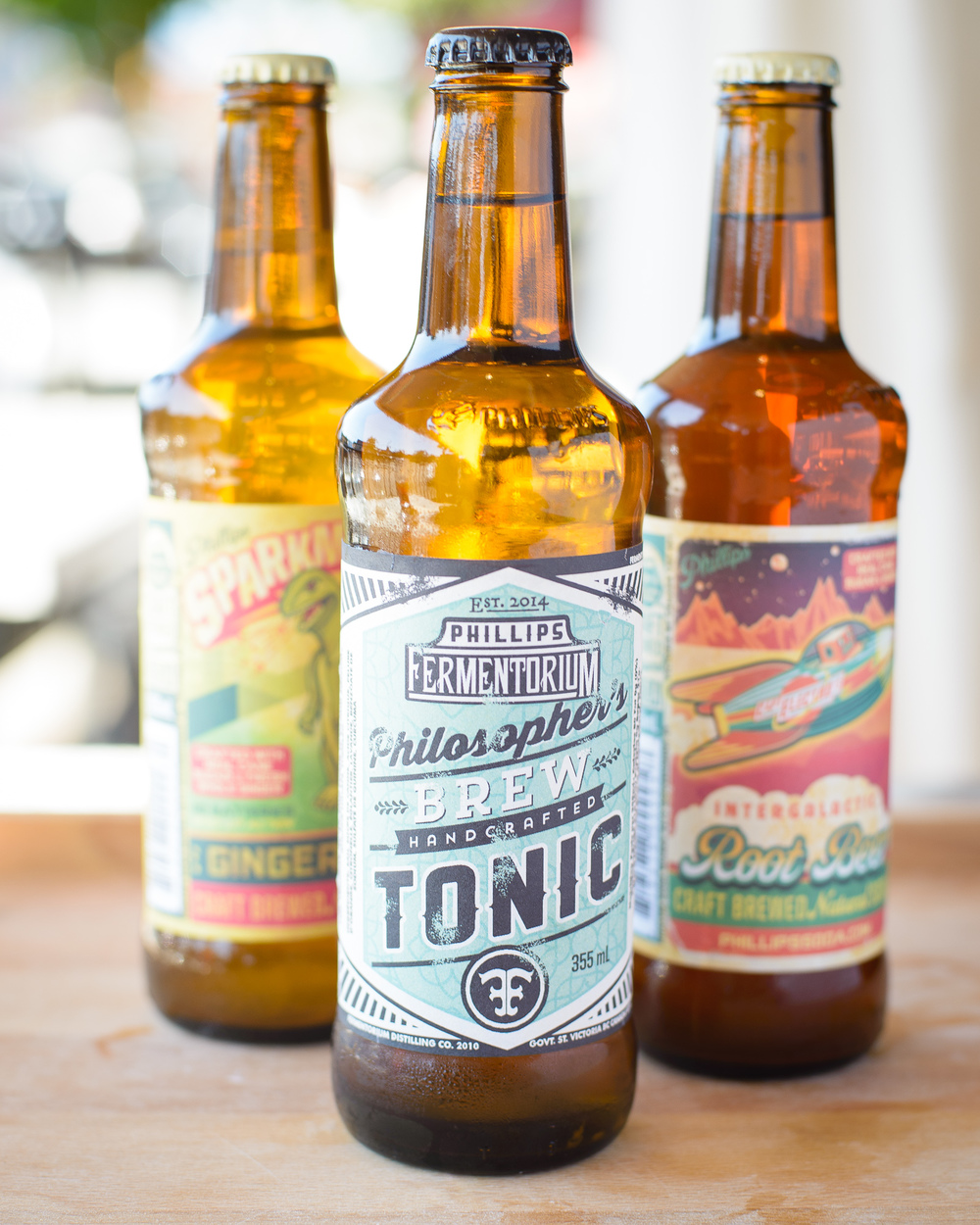 Phillips fermentorium soda tonic, root beer and ginger ale summer food photography