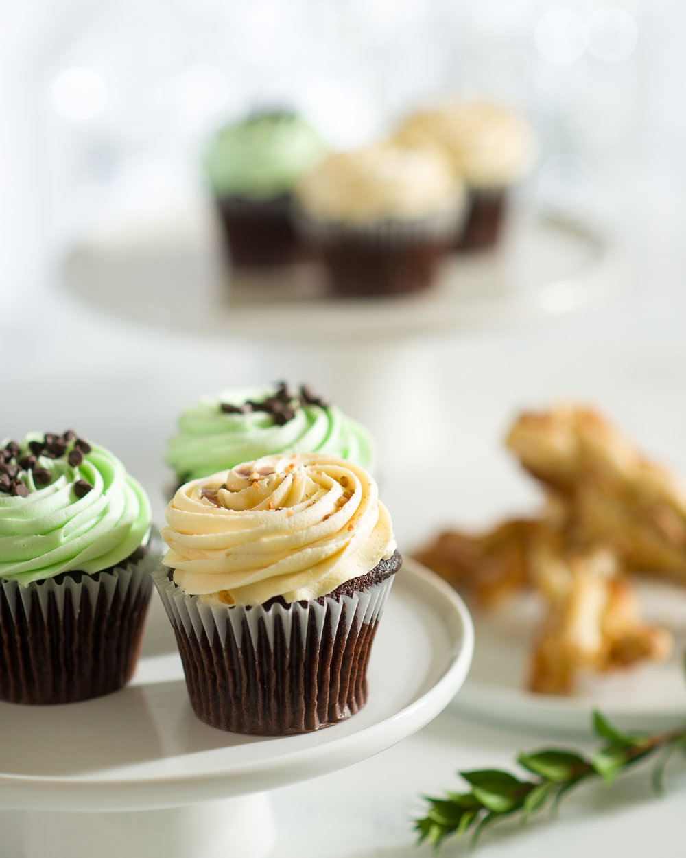 Mint and caramel cupcakes Vancouver food photograph