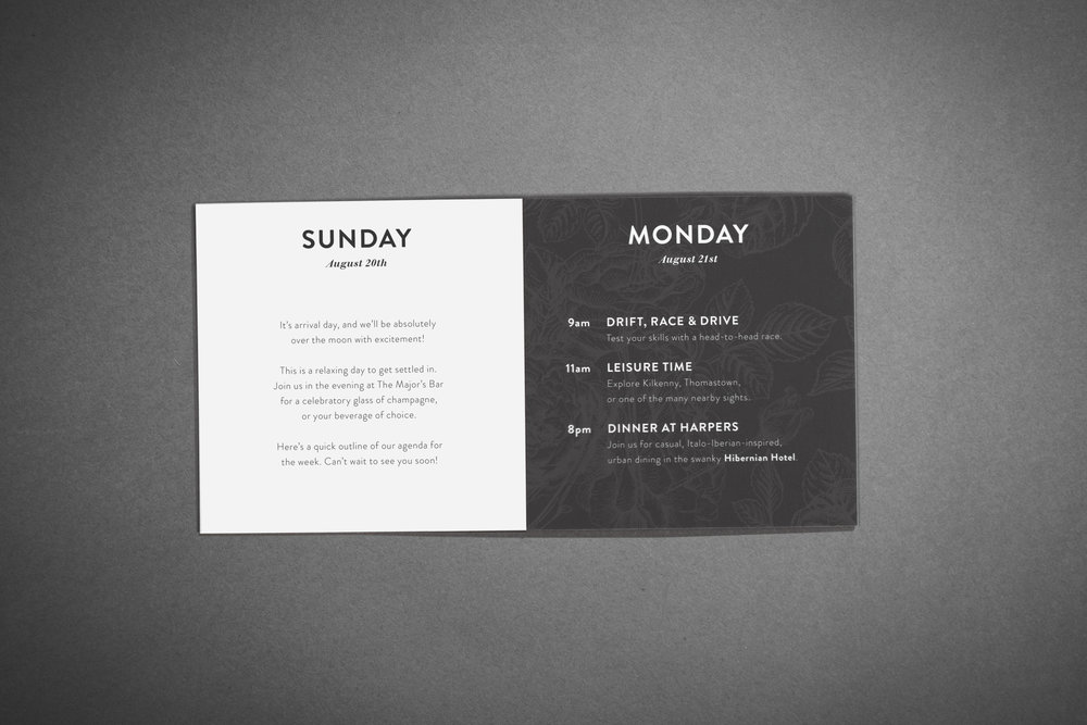 Custom Wedding Suite (Itinerary, 4-panel accordion fold, inside) by Maystorm Studio