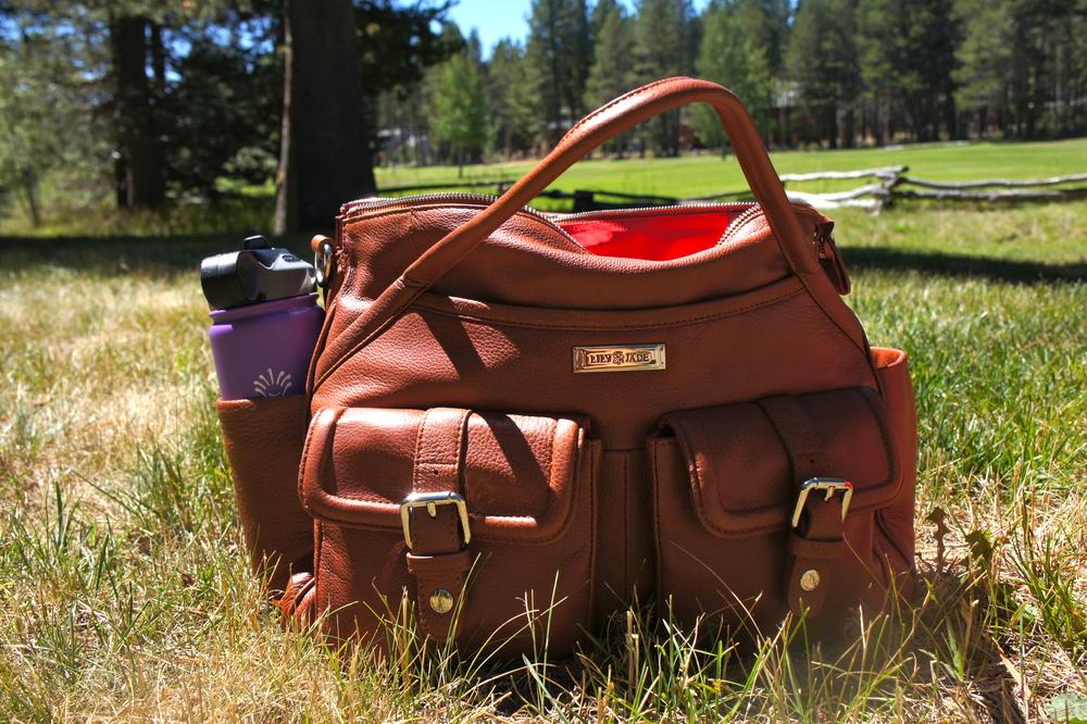 Diaper Bag Review: Lily Jade Elizabeth in Camel viajannyorganically.com#diaperbag#designerbag#lilyjade