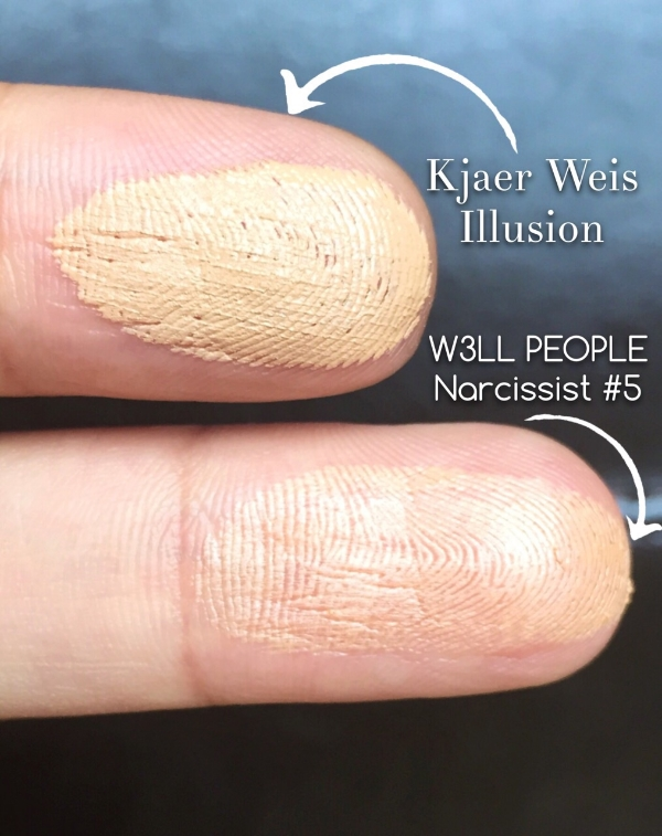 Kjaer Weis and W3LL People Narcissist Stick: A Non-Toxic Cream Foundation Comparison - Each finger has 2 swipes of each brand. Since the Kjaer Weis is slightly creamier, it appears a lot thicker, but it is not, just more product comes out per swipe vs. W3LL PEOPLE. Please don't steal my finger prints from this picture and commit crimes. Can one do that??