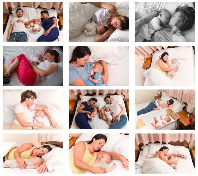 In response to media images that improperly portrayed mother-infant sleep, Durham University's Parent-Infant Sleep Lab illustrates bed-sharing positioning as depicted in studies.