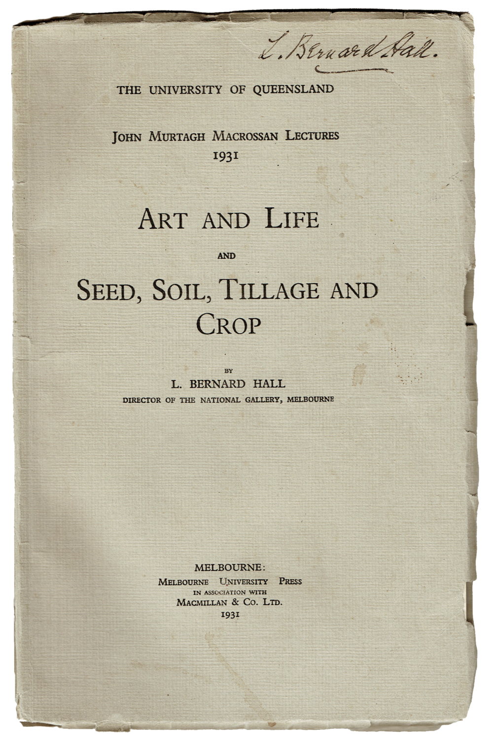 L. Bernard Hall, Lecture on  Art & Life,  1931