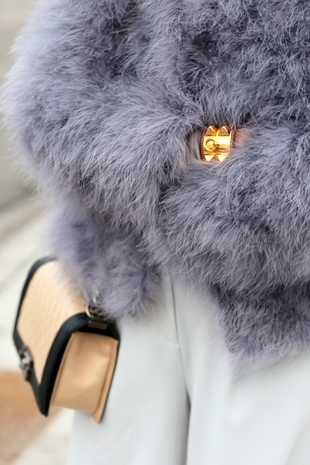 grey ostrich feather coat, Chanel Boy Bag, Hermes Bracelet - THAT GIRL GICK