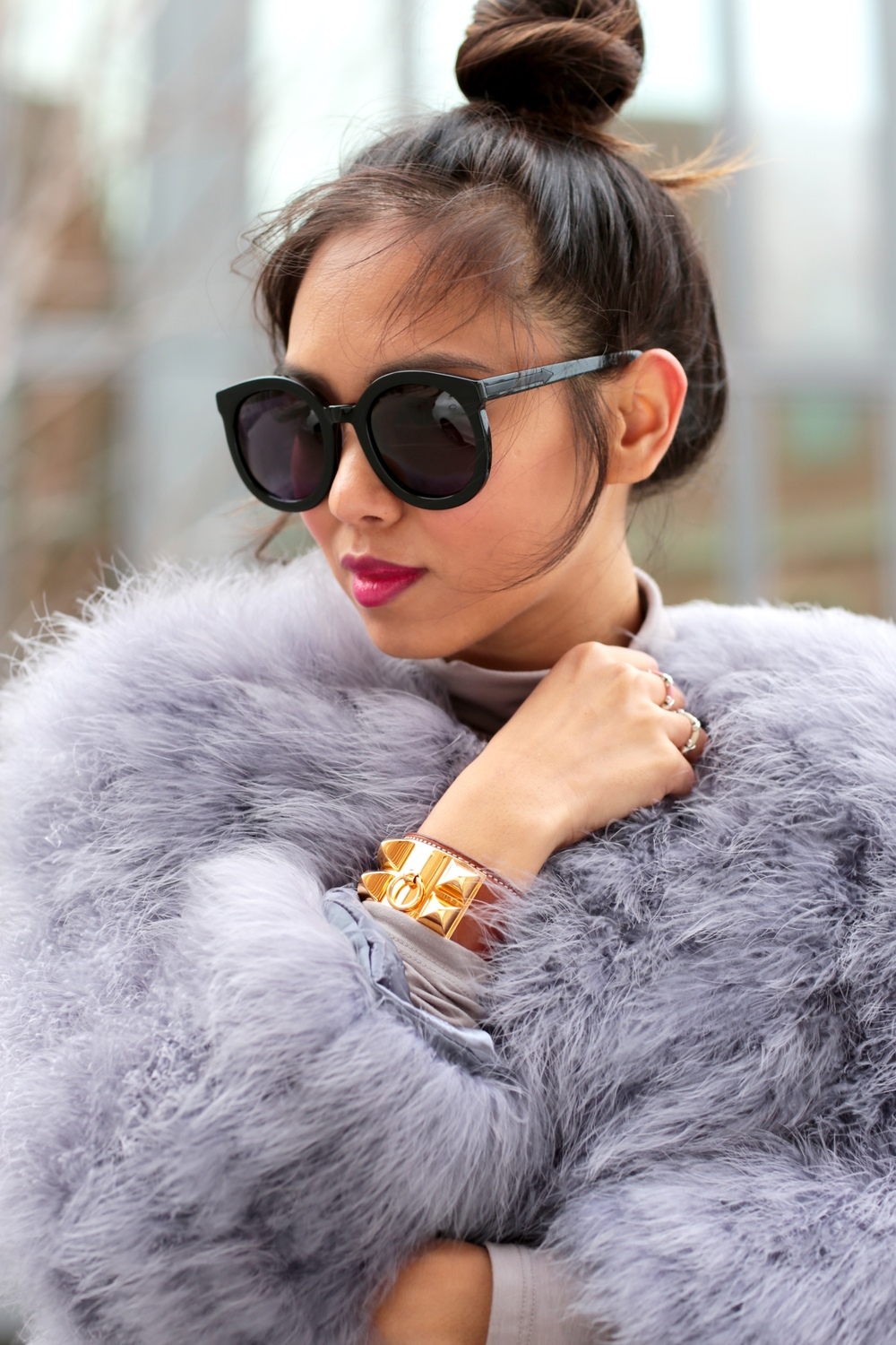 grey ostrich feather coat - THAT GIRL GICK