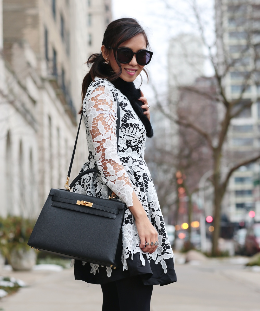 Black &White Crochet Lace Flare Dress, Hermes Kelly Bag, Christian Louboutin Lace Up Calf Hair Booties
