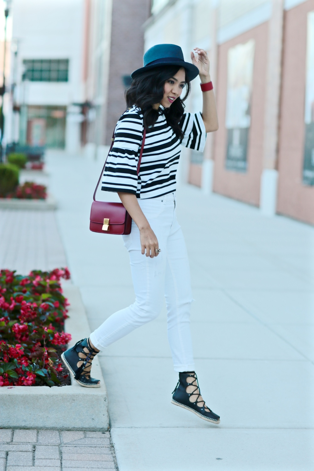 striped ruffle sleeve crop top, shopbop Cynthia Vincent Palace Gladiator Espadrilles, celine mini box bag