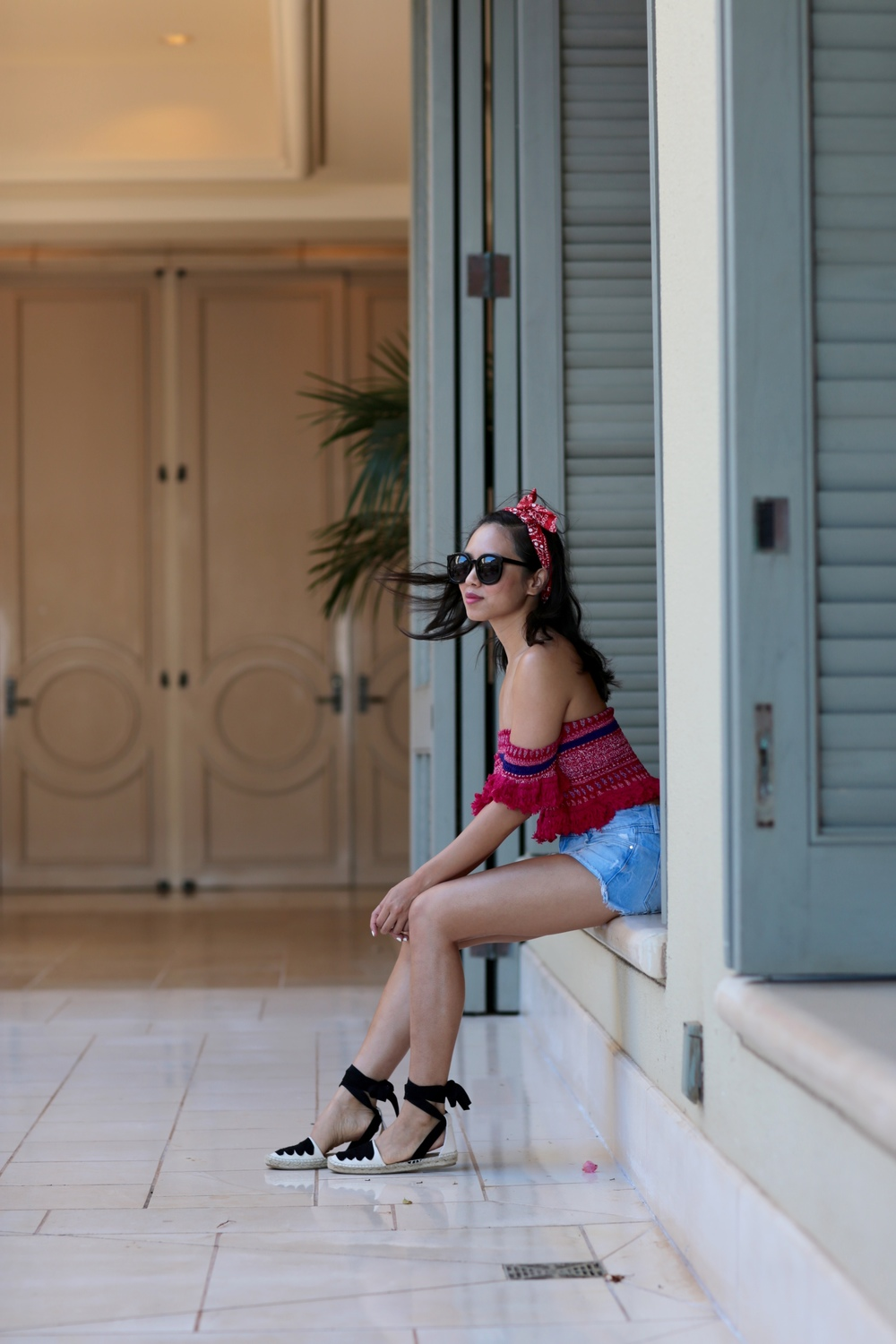 pink paisley print off the shoulder top, lace up espadrilles, maui, hawaii four seasons maui