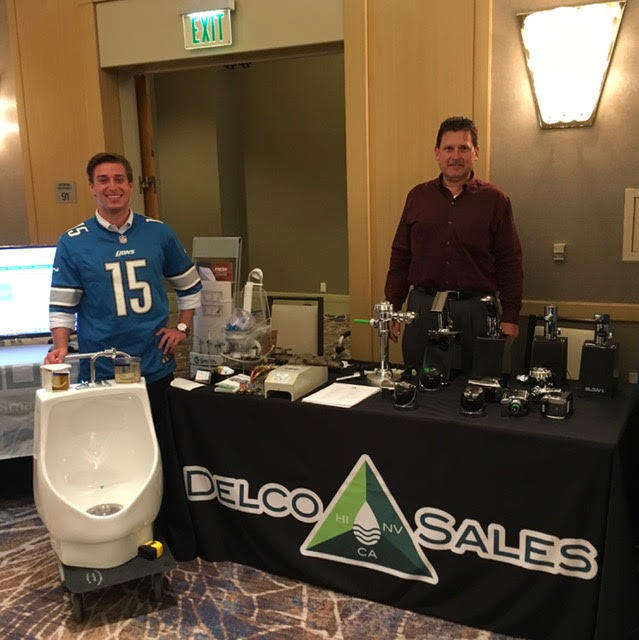 David David from Delco Sales and Jake Jaskolski from Falcon Waterfree Technologies demonstrate the benefits of using Sloan Hybrid valves for retrofit projects. This technology can be found in Sloan's hybrid urinals. To learn more, visit their website here!